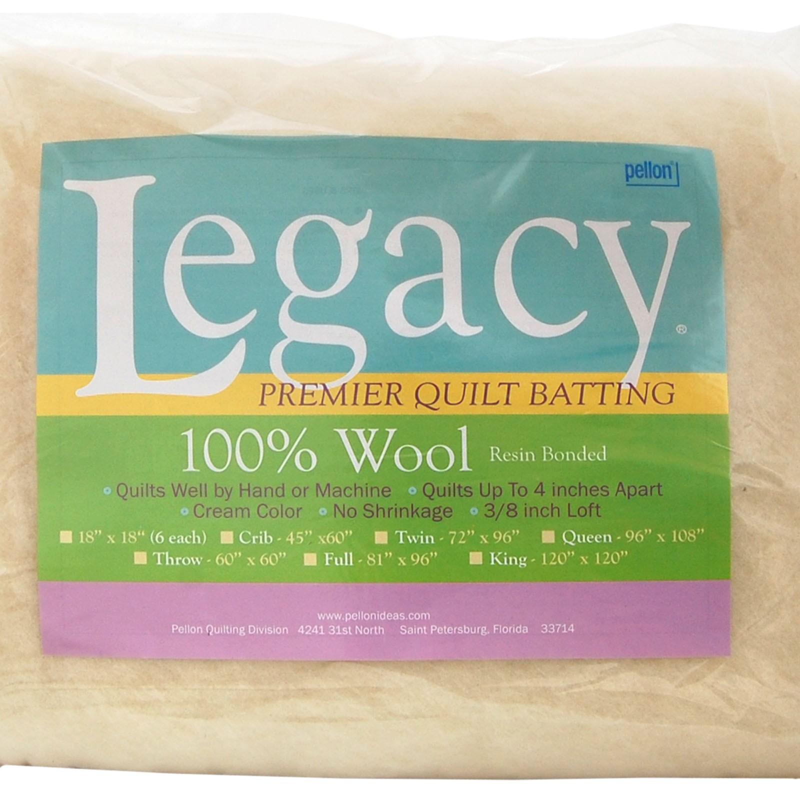Pellon W-60 Throw Size Wool Batting White 60 by 60