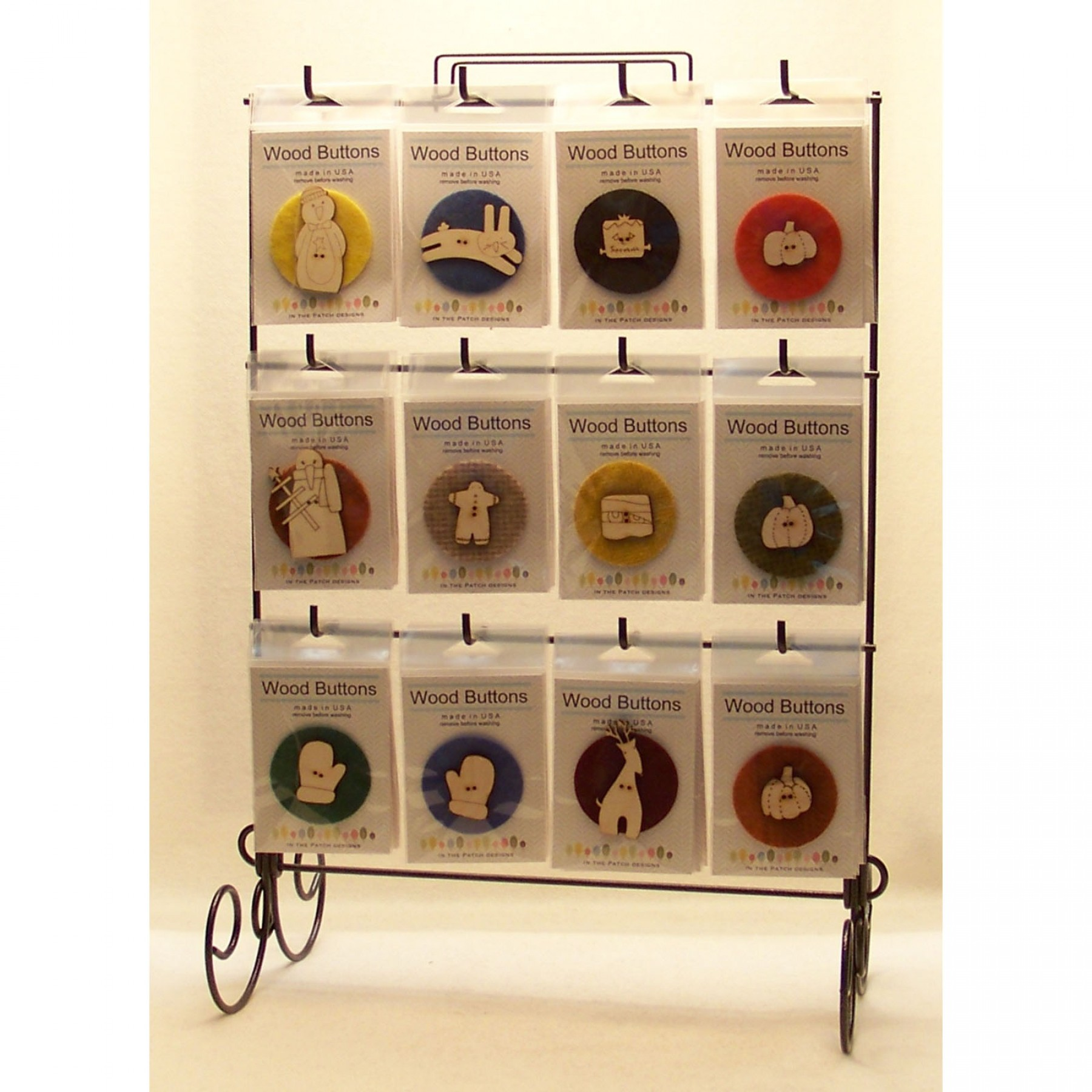 laser cut wooden buttons display