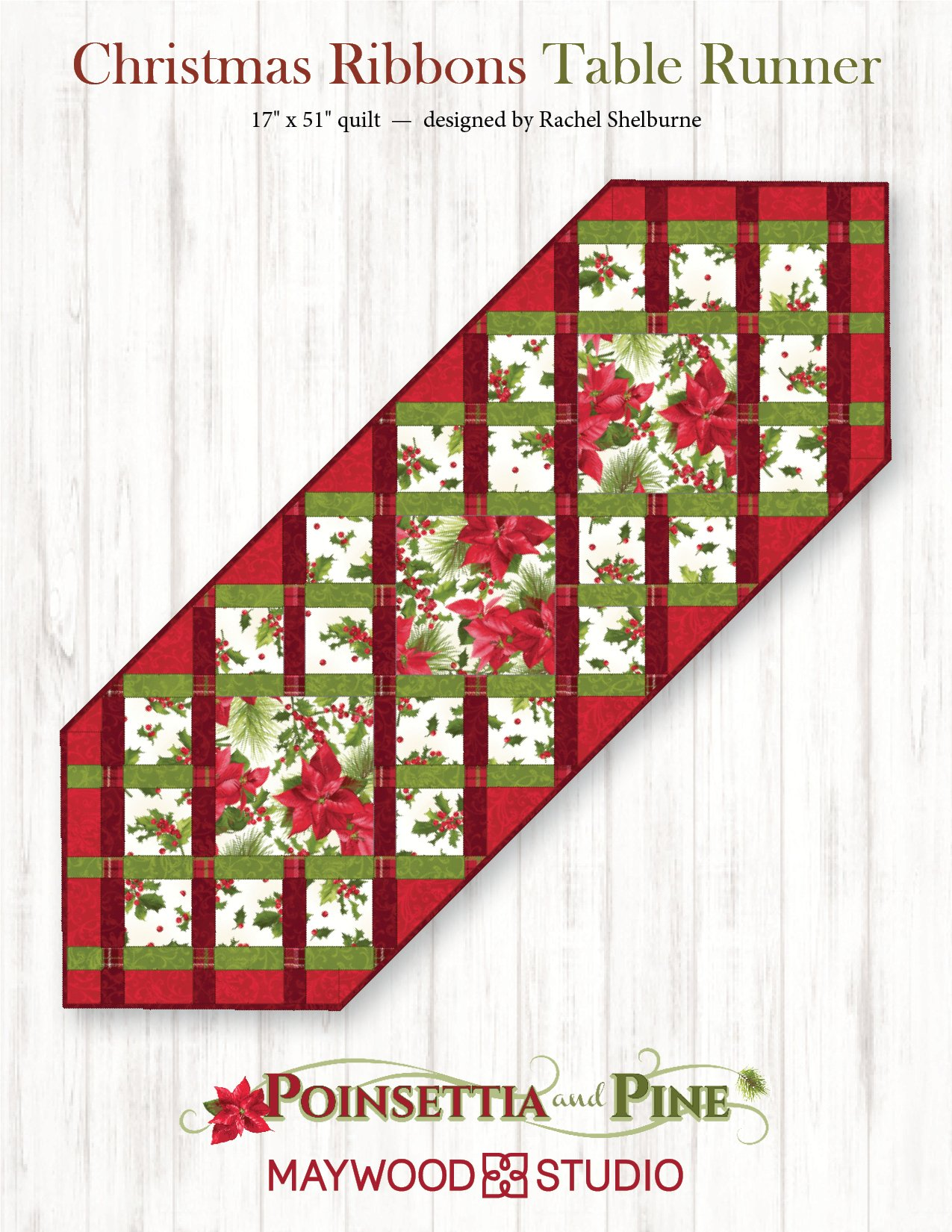 """Christmas Ribbons Table Runner"" Free Pattern designed by Rachel Shelburne from Maywood Studio"