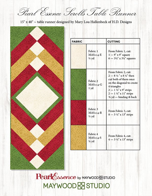 """Pearl Essence Table Runner"" Free Pattern designed by Mary Lou Hallenbeck from H.D. Designs brought to you by Maywood Studio"