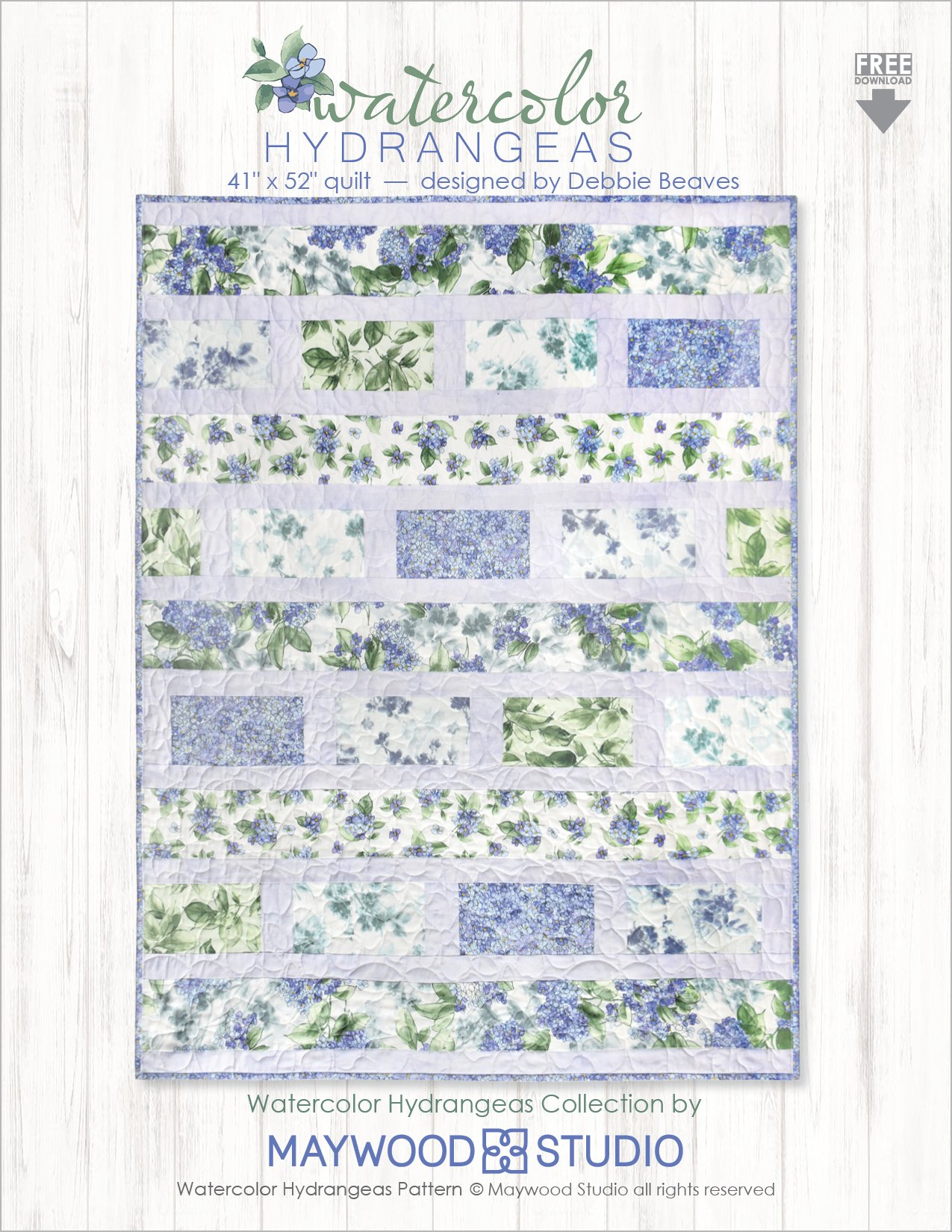 """Watercolor Hydrangeas"" Free Easy to Sew Quilt Pattern designed by Debbie Beaves from Maywood Studios"
